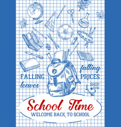 Back to school sketch stationery poster vector