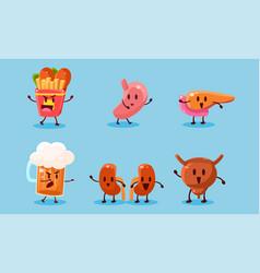 bad habits set destruction human organs vector image