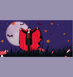 banner with a vampire to halloween template vector image