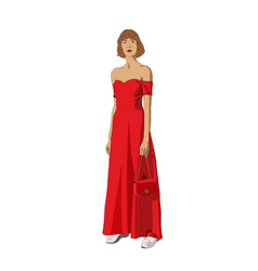beautiful young girl in a red dress and with a vector image