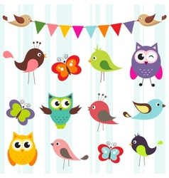 birds and butterflies vector image