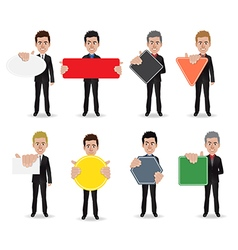 Business man holding sign vector image