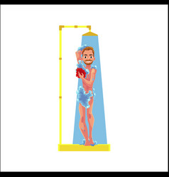 Cartoon adult man taking shower isolated vector