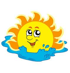 Cartoon sun bathing in sea vector