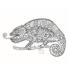 Chameleon in African patterns vector image