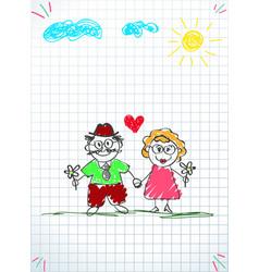 Children colorful pencil hand drawn of grandpa vector