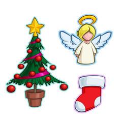 christmas cartoon icon set - tree angel stocking vector image