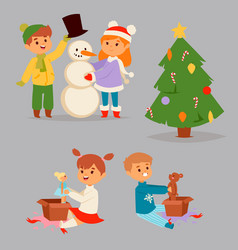 christmas kids character playing winter vector image