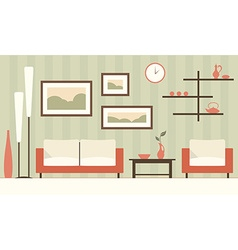 Color interior of cartoon minimalistic modern vector