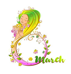 Colored 8 march concept with beatiful woma vector