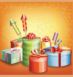 Composition of gift box and elements vector