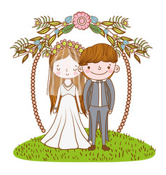 couple marriage cute cartoon vector image