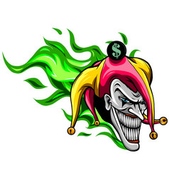 crazy creepy joker face angry clown with evil vector image