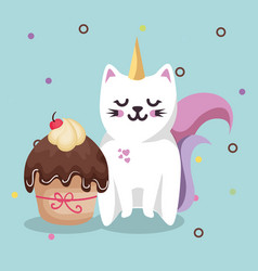 Cute cat sweet kawaii with cupcake birthday card vector