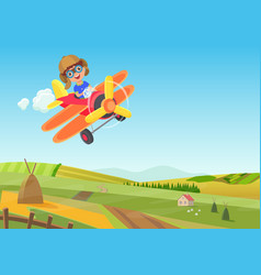 Cute little boy flying in airplane above vector
