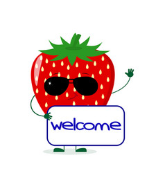 cute strawberry character in sunglasses keeps the vector image
