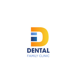 dental family clinic letter d icon vector image