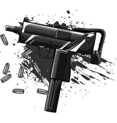 design army uzi weapon with bullets ad blood vector image