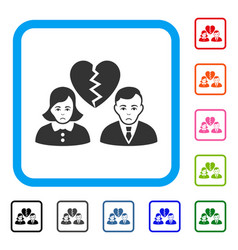 Divorce people framed dolor icon vector