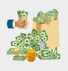 Dollar paper business finance money stack of vector