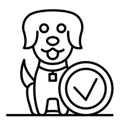 done happy dog icon outline style vector image