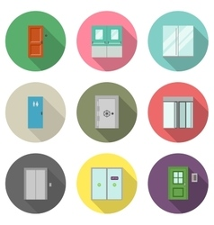 Door flat icons vector
