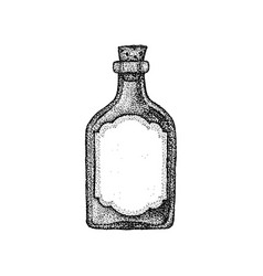 dotwork vintage glass bottle vector image