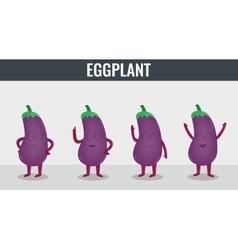 Eggplant Funny cartoon vegetables Organic food vector image
