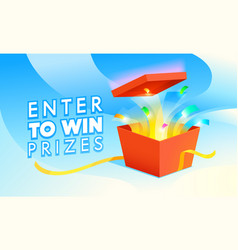 Enter to win prizes banner open red gift box vector