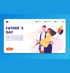 fathers day landing page template with vector image