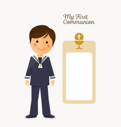 First communion child on white background with vector