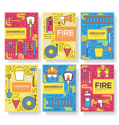 Flat firefighter uniform brochure cards vector