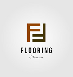 Floor initial letter f parquet flooring logo vector