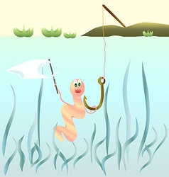 Frightened worm on a fishhook holding a white flag vector image
