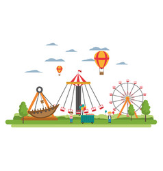Funny carnival mechanical ride games vector