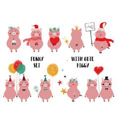 Funny set cute pink pig vector