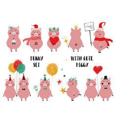funny set of cute pink pig vector image