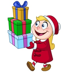 Girl with gifts vector