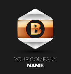 golden letter b logo in silver-golden hexagonal vector image