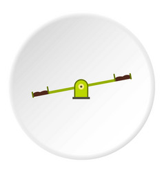 Green seesaw icon circle vector