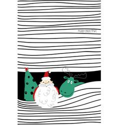 Greeting card withh christmas tree santa and deer vector