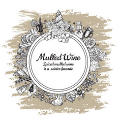 Hand drawn mulled wine round banner black vector