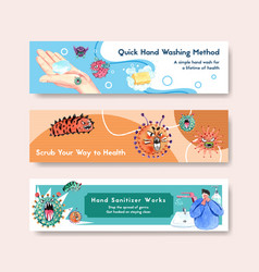 Hand sanitizer banner design with details about vector