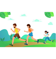 happy family with children running or jogging vector image