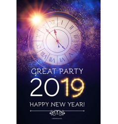 happy hew 2019 year clock gold shimmering lights vector image