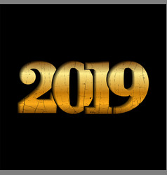 happy new year gold number 2019 golden crack vector image