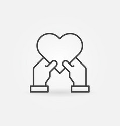 heart in human hands icon in thin line vector image