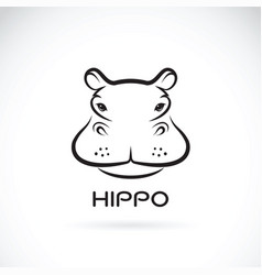 hippo face design on white background wild vector image vector image