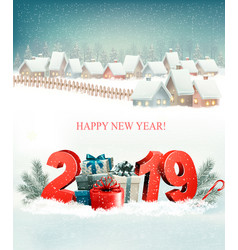 holiday christmas background with 2019 and winter vector image