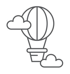 hot air balloon thin line icon airship and travel vector image